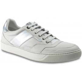 Lanvin Niedrige Herren-Sneaker aus weißem Leder mit Hologramm-Effekt und Schnürsenkel