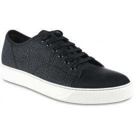 Lanvin Niedrige Sneakers zum Schnüren für Herren aus dunkelblauem Leder mit Taurillon-Effekt