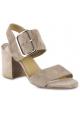 Stuart Weitzman Damen sandalen mit quadratischem Absatz aus taupefarbenem Wildleder