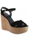 Stuart Weitzman Damen Keil sandaletten aus schwarzem Wildleder mit Eidechsen-Print