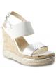 Hogan Damen Keilsandaletten aus weißem und silbernem Leder mit Knöchelriemen