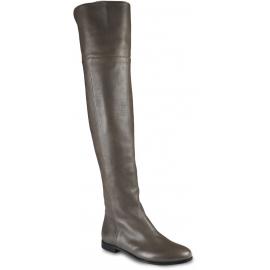 Jimmy Choo Damen Overknee Stiefel aus grauem Leder mit seitlichem Reißverschluss