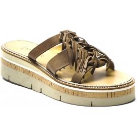 Sartore Plateau Sandalen für Damen mit Fransen aus taupefarbenem Leder