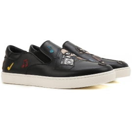 Dolce & Gabbana Herren Slip-On Sneaker aus schwarzem Leder