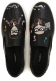 Dolce & Gabbana Herren Slip-On Sneakers aus schwarzem Leder