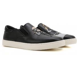 Dolce & Gabbana Herren Slip-Ons in schwarzem Leder