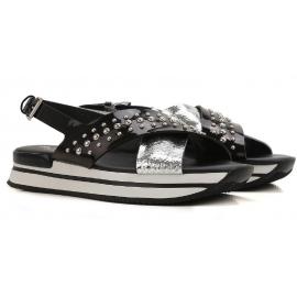 Hogan flache Sandalen Schuhe aus schwarzem und silbernem Lackleder