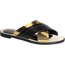 Lanvin Frauen gekreuzte Pantoffelsandalen aus schwarz / goldfarbenem Leder