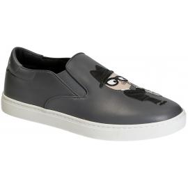 Dolce & Gabbana Herren Slip-On Sneaker aus grauem Leder