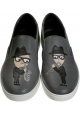 Dolce & Gabbana Herren Slip-On Sneakers aus grauem Leder