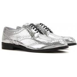 Dolce & Gabbana Damen Schnürschuh aus silbernem Kalbsleder