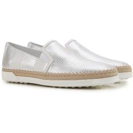 Tod's Damen Slip-Ons Sneaker aus silberlaminiertem Leder