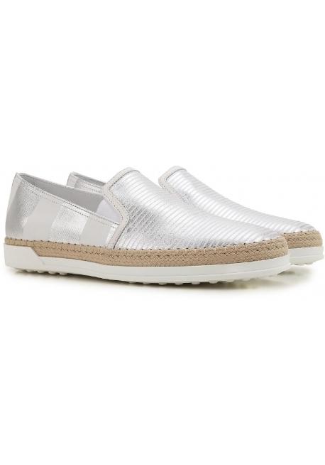 8f6d3516a1e3e4 Tod s Damen Slip-Ons Sneaker aus silberlaminiertem Leder - Italian ...