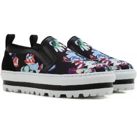 MSGM Keile Slip-On Sneakers in schwarzem Leder Stoff Blumenmuster