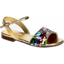 Dolce & Gabbana Kinderwohnungen Sandalen aus goldenem Lamé-Leder