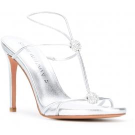 Stuart Weitzman High Heel Sandalen aus Silber Laminiertes Kalbsleder