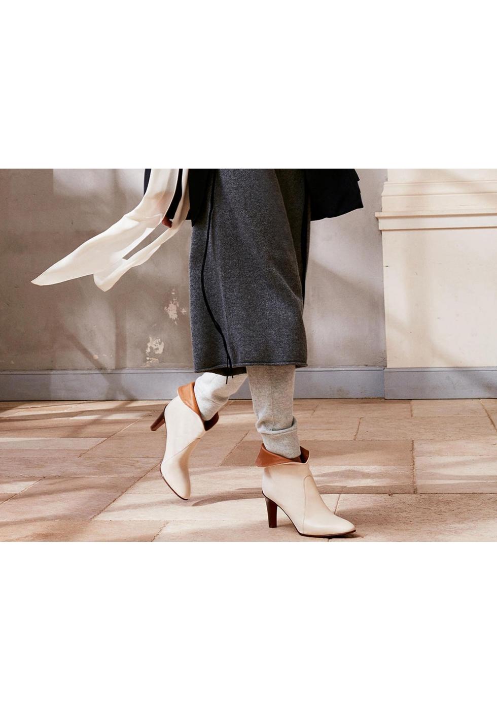 chlo stiefeletten damen booties in beige leder stoff. Black Bedroom Furniture Sets. Home Design Ideas