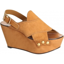 Chloé Wedges Sandalen aus Camel Wildleder