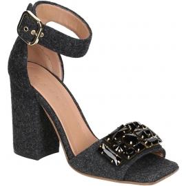 Marni High Heels Sandaletten in Dunkelgrau Filz mit Kristallen