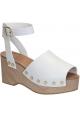 Céline Wedges Clogs Sandalen aus weißem Kalbsleder