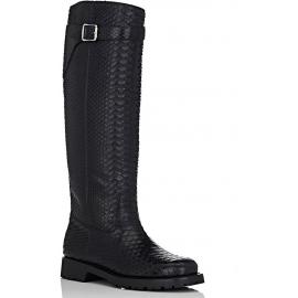 Saint Laurent Kniehohe Stiefel aus schwarzem Pythonleder
