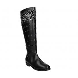 Alaïa Flats kniehohe Stiefel aus schwarzem Kalbsleder