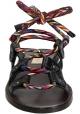 Flache Sandalen von Valentino in Anthrazit Leder