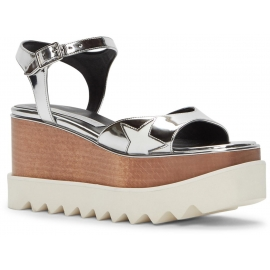 Stella McCartney Vegan Silver Wedges Sandalen Schuhe