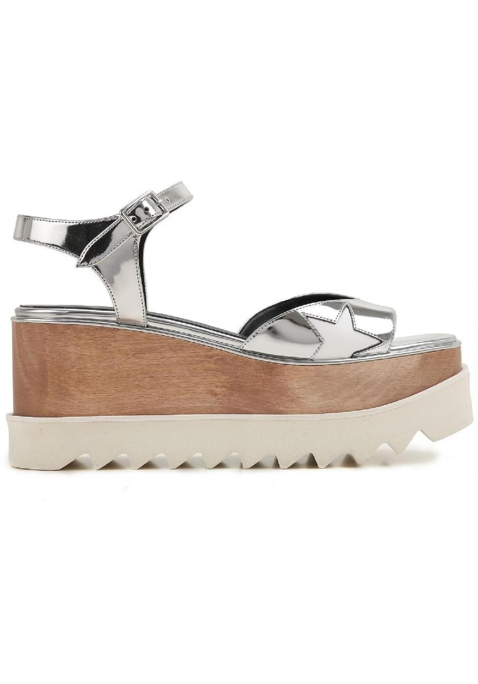 stella mccartney vegan silber wedges sandalen schuhe italian boutique. Black Bedroom Furniture Sets. Home Design Ideas