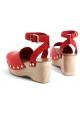 Der Keil Sandale in Céline Holzkalbsleder Rot auf