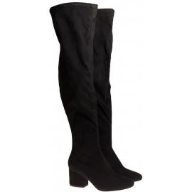 Stiefel über das Knie Kylie Kendall + schwarzer Stoff