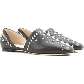 Jimmy Choo d'Orsay Wohnungen Schuhe besetzt schwarzes Leder