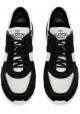 Valentino Herren Sneakers aus schwarzem Leder mit weißem Stoff
