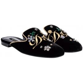 Dolce & Gabbana Frauen Hausschuhe aus schwarzem Samt