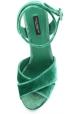 Dolce & Gabbana Sandalen mit Plateau aus grünem Samt