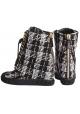 Casadei Wedges Stiefeletten in schwarz / weiß Stoff
