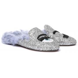Chiara Ferragni Pelz ausgekleidet Hausschuhe in Silber Glitter