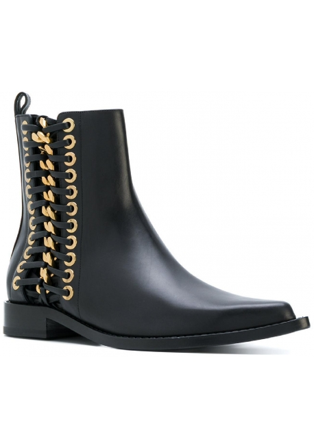 9adfd1985336a5 Alexander McQueen Damen Stiefeletten aus schwarzem Leder - Italian ...