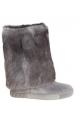 Casadei Kniehohe Stiefel aus grauem Wildleder und Pelz