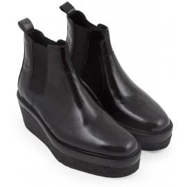 Pierre Hardy Wedges Stiefeletten aus schwarzem glänzendem Kalbsleder