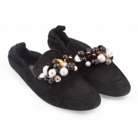 Lanvin Flats Ballerina aus schwarzem Wildleder