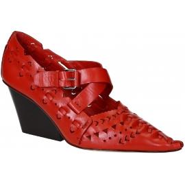 Céline Block Heel Pumps aus rotem Kalbsleder