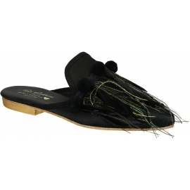 Gia Couture Frauen Hausschuhe aus schwarzem Leder und Stoff