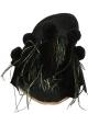 Gia Couture Damen Hausschuhe aus schwarzem Leder und Stoff