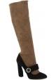 Prada Stiefel kniehoch in nude und schwarz Veloursleder