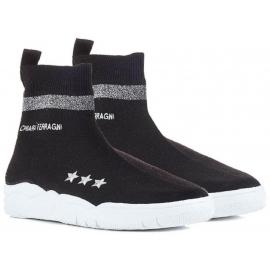 Chiara Ferragni schwarz gestrickte High-Top-Sneaker-Schuhe