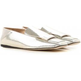 Flache Slipper von Sergio Rossi aus laminiertem, silbernem Leder