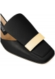 Sergio Rossi Tanga schwarze Leder Hausschuhe Schuhe