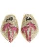 Chiara Ferragni Flats spitzen Pantoletten aus Gold mit Glitzer