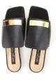 Sergio Rossi - Flache Dia-Sandalen aus schwarzem Leder